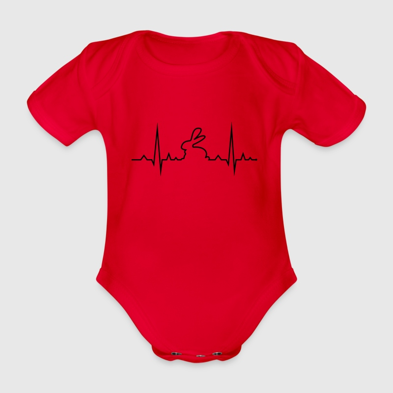 bunny rabbit heartbeat ECG cony hare love Baby Bodysuits - Organic Short-sleeved Baby Bodysuit