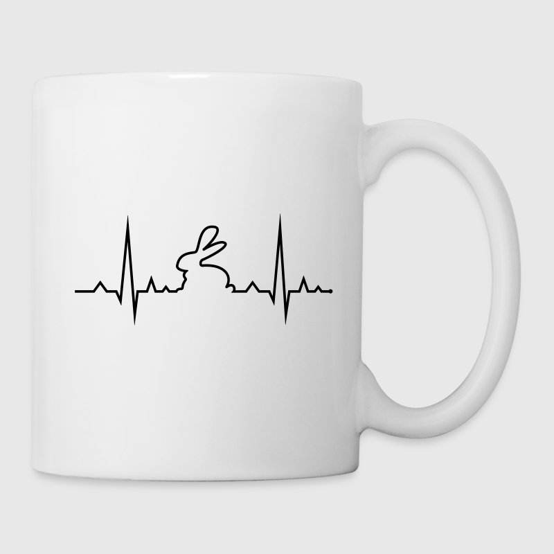 bunny rabbit heartbeat ECG cony hare love Mugs & Drinkware - Mug