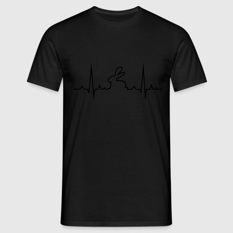 bunny rabbit heartbeat ECG cony hare love T-Shirts - Men's T-Shirt