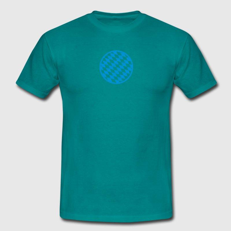 Kreis Sticker Muster Flagge Rund Bayern Blau Weiss T-Shirt