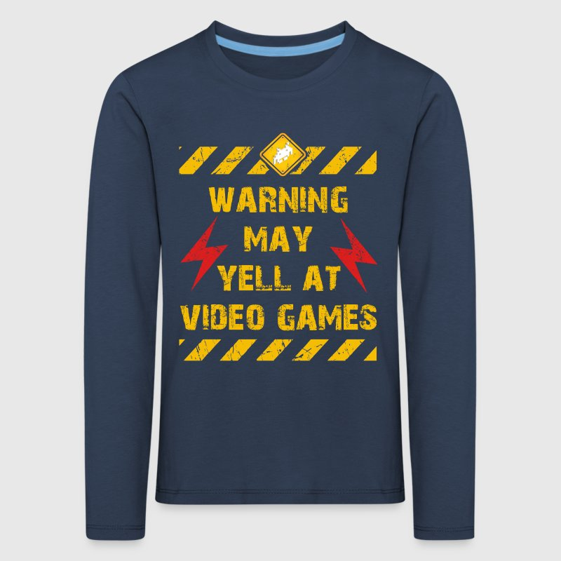 Warning Video Games Langarmshirts - Kinder Premium Langarmshirt