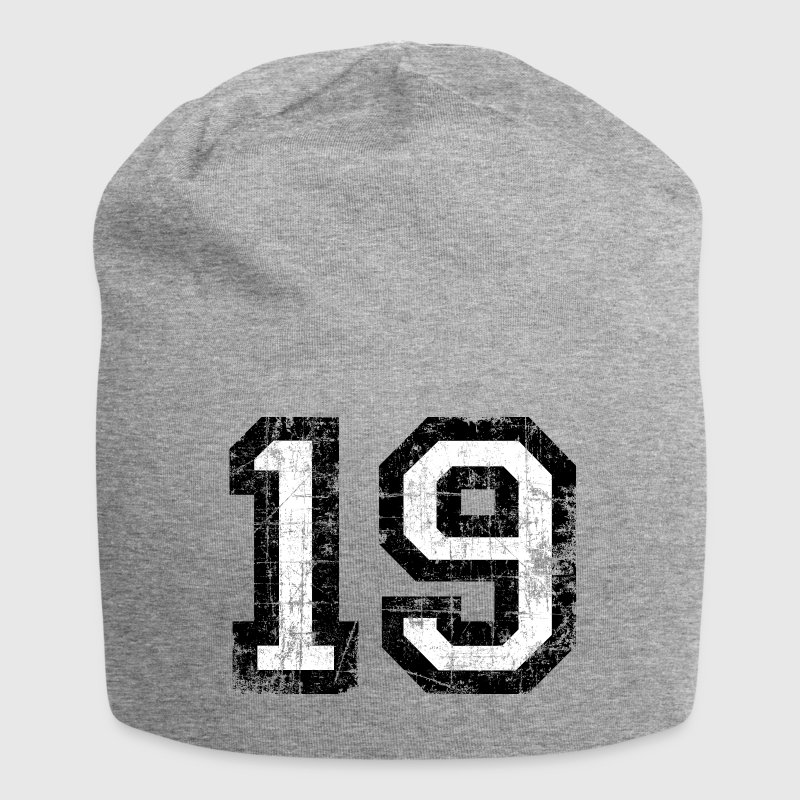 Number 19 number nineteen 19th birthday nineteenth Caps & Hats - Jersey Beanie