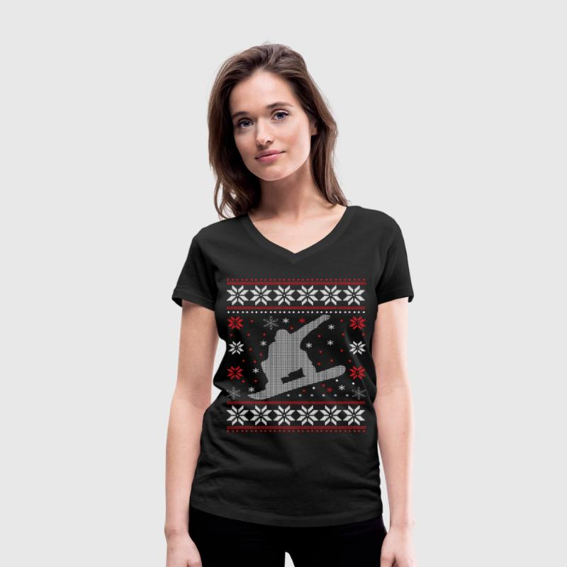 Snowboard - Ugly Christmas T-Shirts - Women's Organic V-Neck T-Shirt by Stanley & Stella