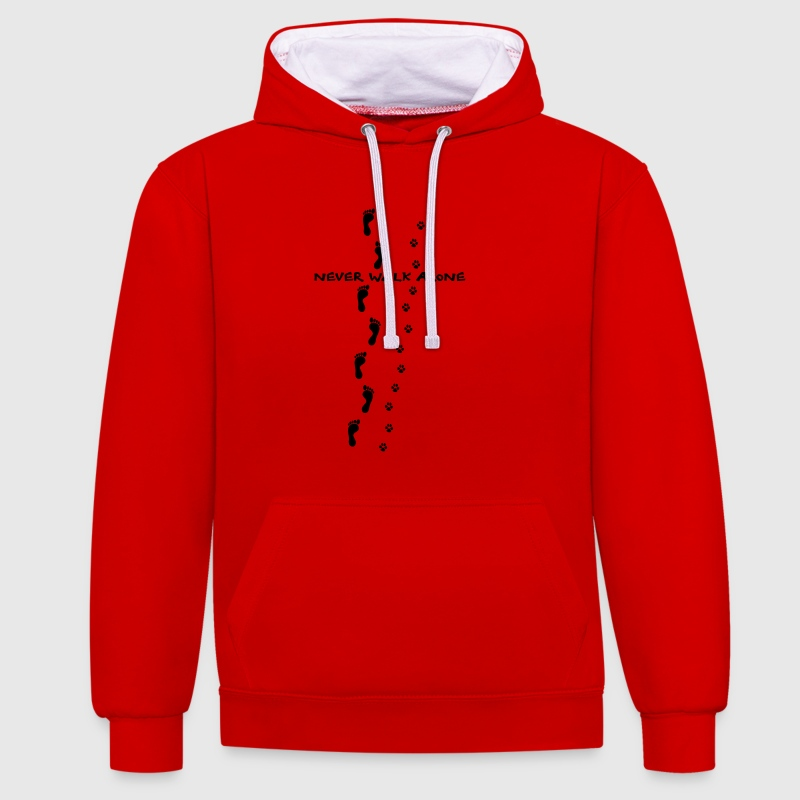 never walk alone dog Hoodies & Sweatshirts - Contrast Colour Hoodie