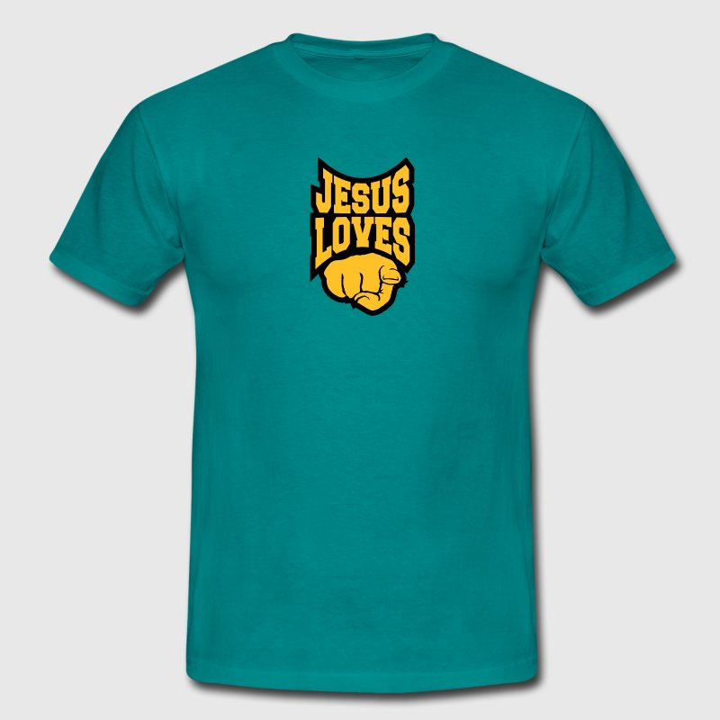 Logo jesus loves you you love you finger show hand T-Shirts - Men's T-Shirt