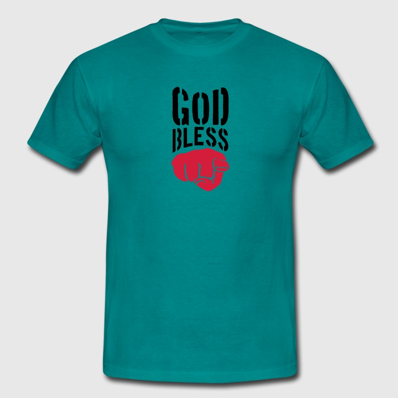 God bless you finger show hand funny god jesus log T-Shirts - Men's T-Shirt