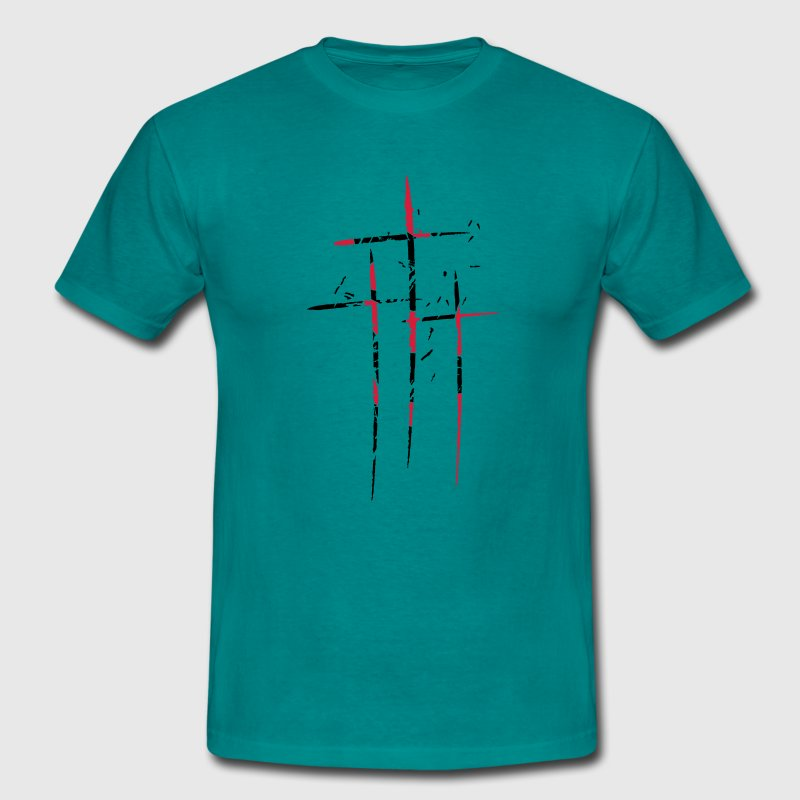 3 crosses design pattern scratch cool old tears br T-Shirts - Men's T-Shirt