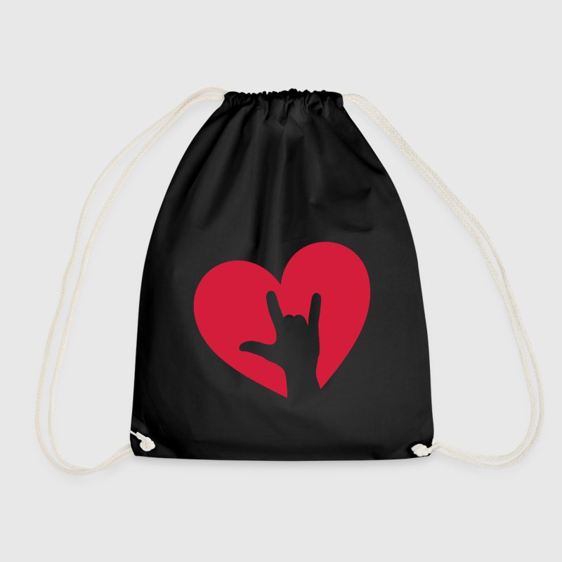 Rock music hand heart, party, festival, i love you Bags & Backpacks - Drawstring Bag