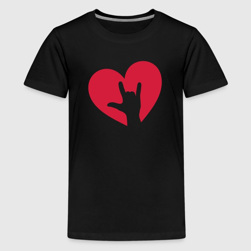 Rock music hand heart, party, festival, i love you Shirts - Teenage Premium T-Shirt