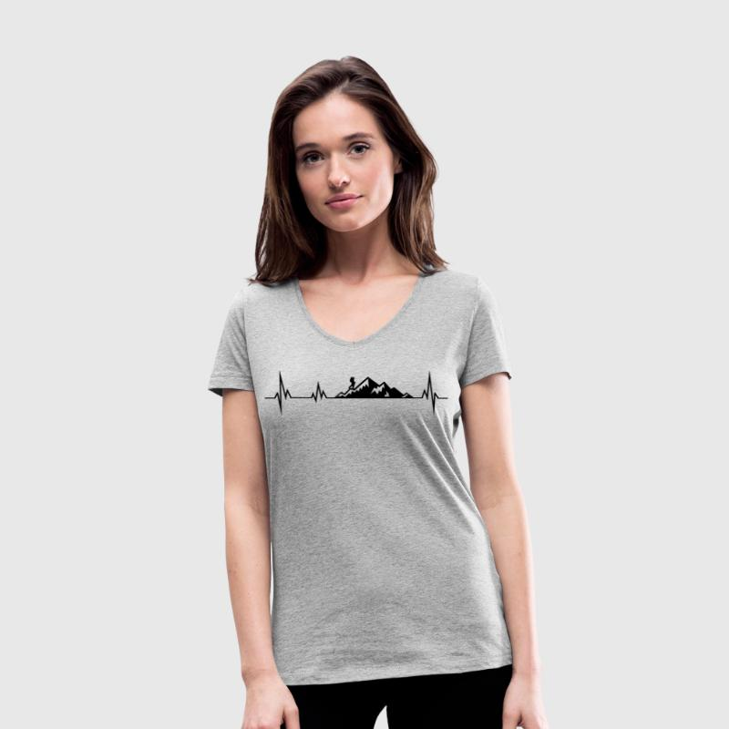 Heartbeat mountains wadnerer T-Shirts - Women's Organic V-Neck T-Shirt by Stanley & Stella