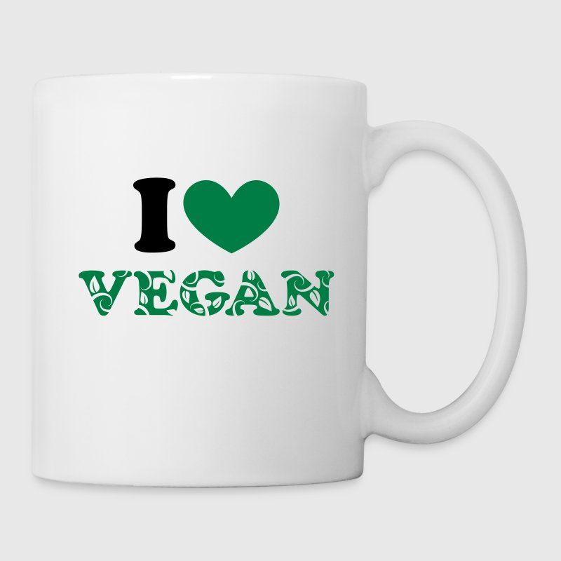 I heart vegan green, animal protection, save earth Mugs & Drinkware - Mug