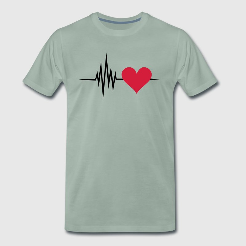 Pulse, frequency, heartbeat, I Love you heart rate T-Shirts - Men's Premium T-Shirt