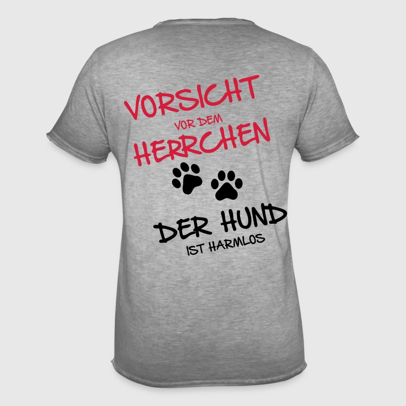 vorsicht herrchen m nner vintage t shirt spreadshirt. Black Bedroom Furniture Sets. Home Design Ideas
