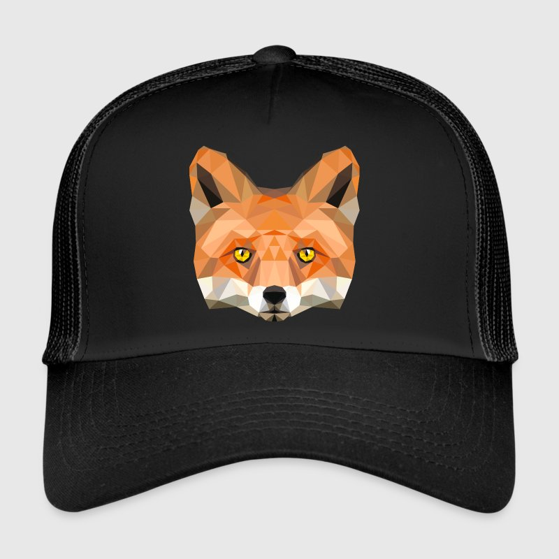 fox poly vixen fox illustration low poly head Caps & Hats - Trucker Cap