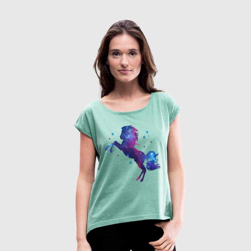Space horse, galaxy style, fantasy, cosmic - Women's T-shirt with rolled up sleeves