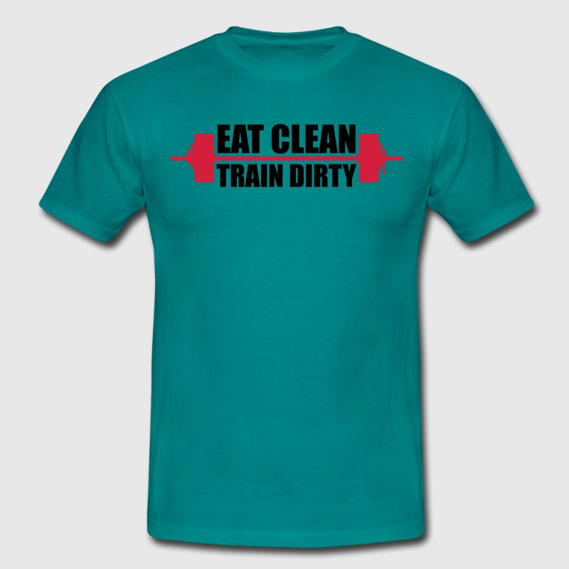design logo eat clean train dirty gewichtheben log T-Shirts - Männer T-Shirt
