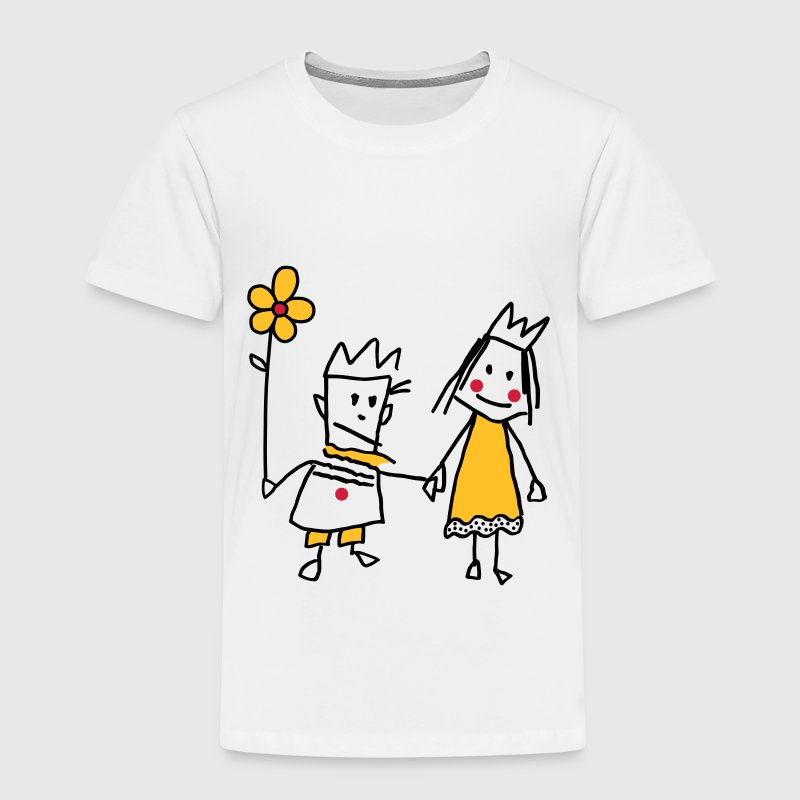 Strichmännchen Königin Prinzessin King Queen Paa - Kinder Premium T-Shirt