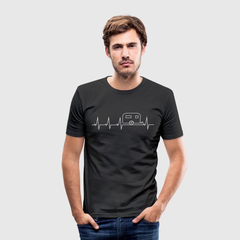 I love camping - heartbeat T-Shirts - Men's Slim Fit T-Shirt
