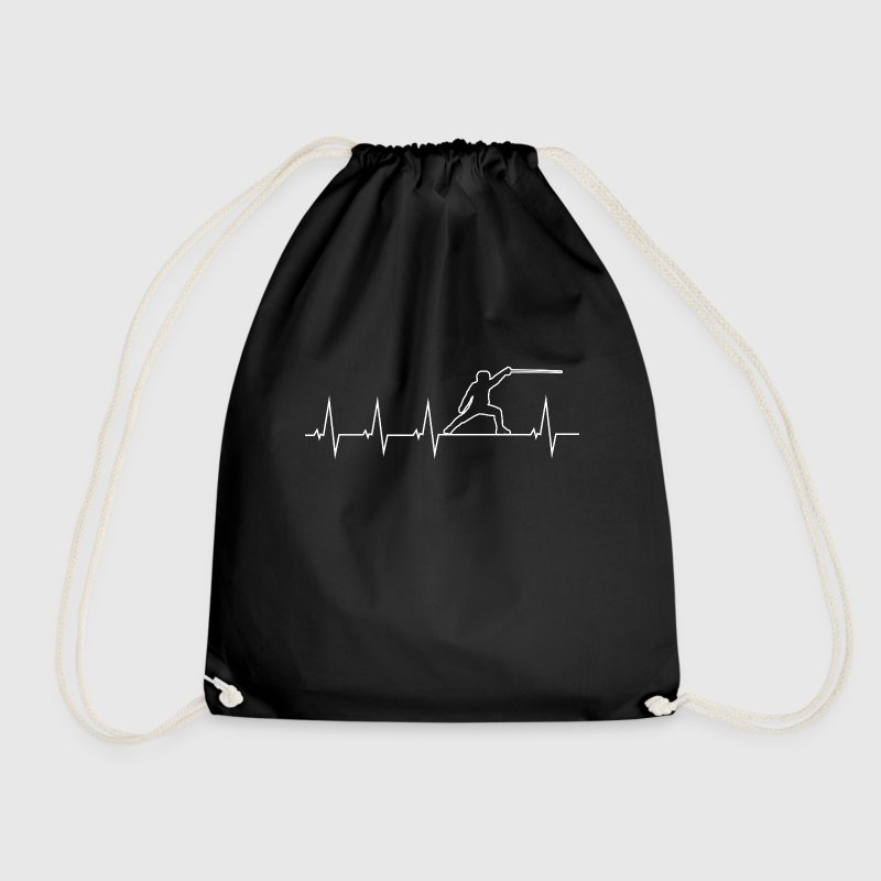I love fencing - heartbeat Bags & Backpacks - Drawstring Bag