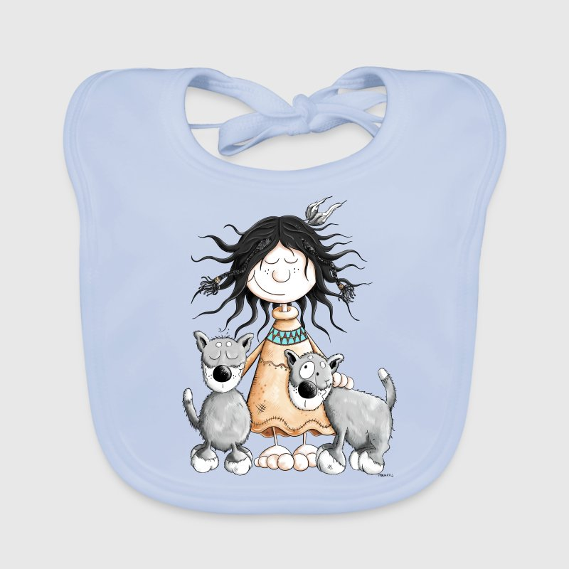 Indian Girl with wolf friends Baby Bibs - Baby Organic Bib