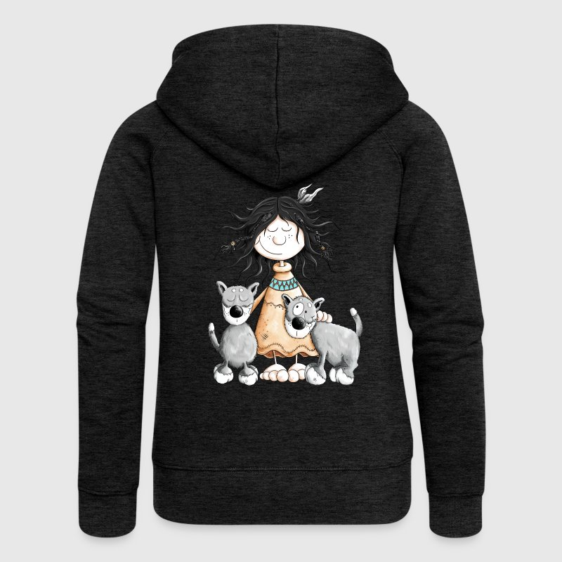 Indian Girl with wolf friends Hoodies & Sweatshirts - Women's Premium Hooded Jacket