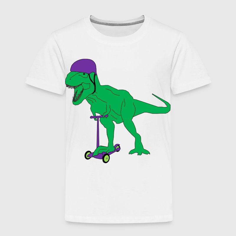 dinosaur Green T Rex on scooter - Kids' Premium T-Shirt