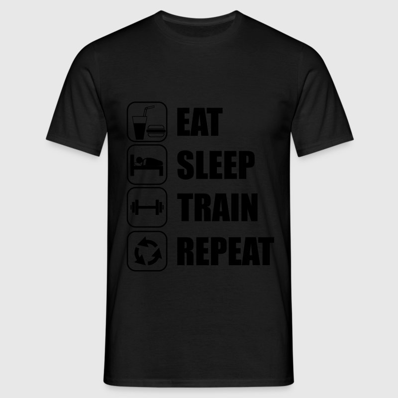 Eat,sleep,train,repeat,Gym,bodybuilding  t-shirt - T-shirt herr