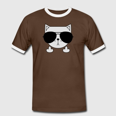 Cute Cat Icon | Sunglasses | Middle Finger T-Shirts - Men's Ringer Shirt