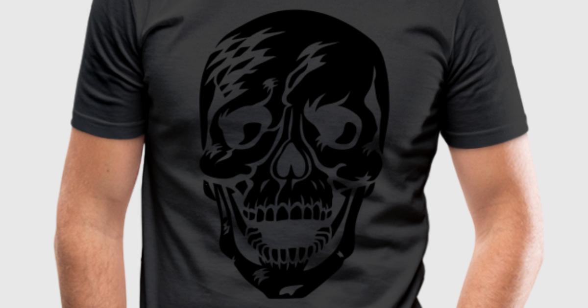 12 totenkopf skull skelett skeleton sch del tattoo t shirt for Two color shirt design