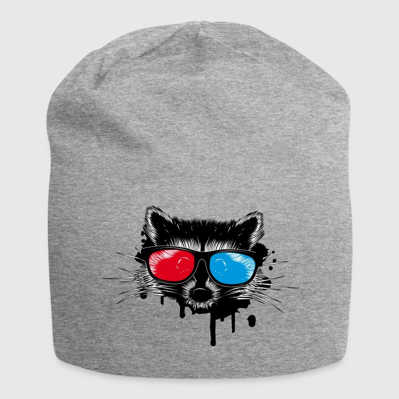 Raccoon with 3D glasses Caps & Hats - Jersey Beanie