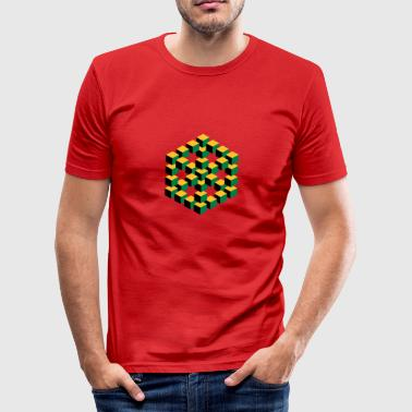 impossible figure cube Würfel Geek Geometrie Nerd - Männer Slim Fit T-Shirt