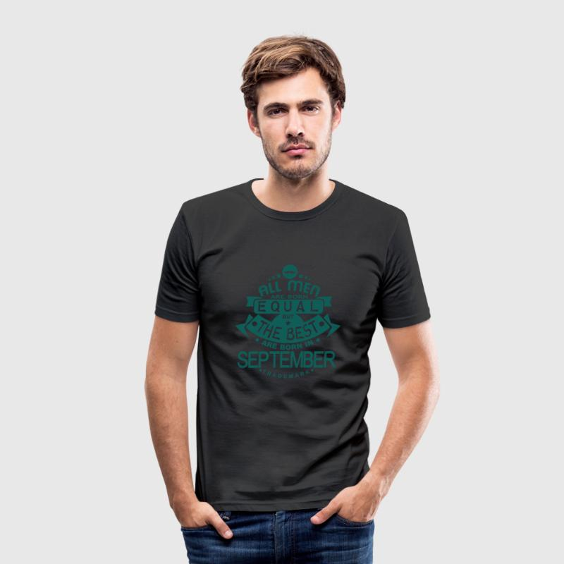 september men equal best born month logo Camisetas - Camiseta ajustada hombre