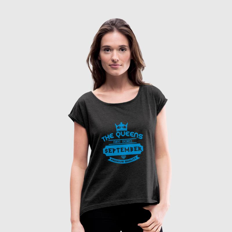 september born queens crown logo Tee shirts - T-shirt Femme à manches retroussées