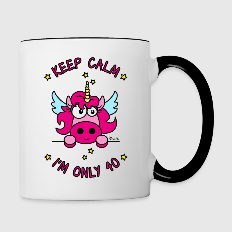 Tasse Licorne Keep Calm, I'm only 40 ans - Tasse bicolore