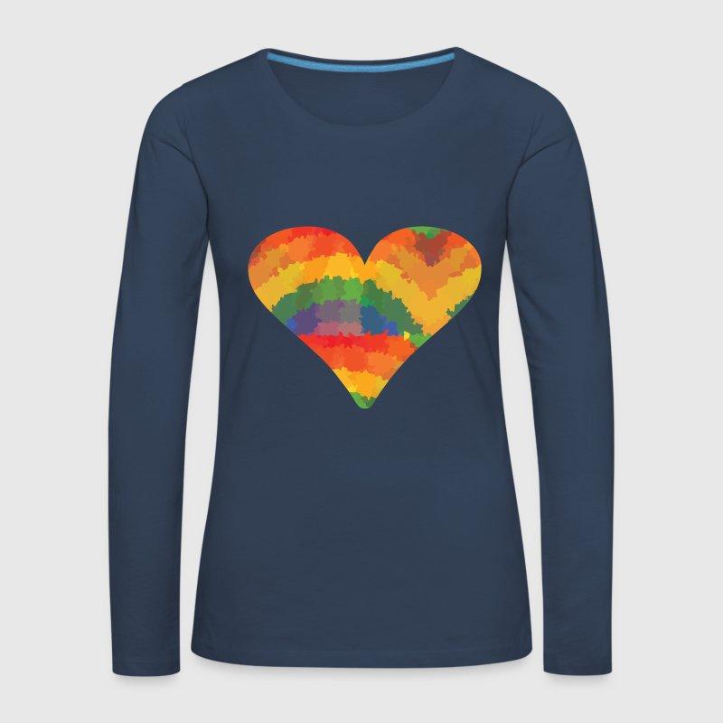 farbiges herz langarmshirt spreadshirt. Black Bedroom Furniture Sets. Home Design Ideas