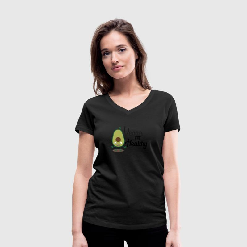 Vegan and healthy avocado S1sts T-Shirts - Women's Organic V-Neck T-Shirt by Stanley & Stella