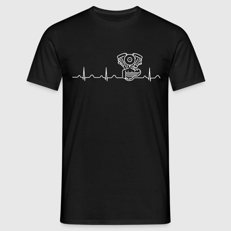 Panhead T-Shirt, Heartbeat Design, black/white - Men's T-Shirt
