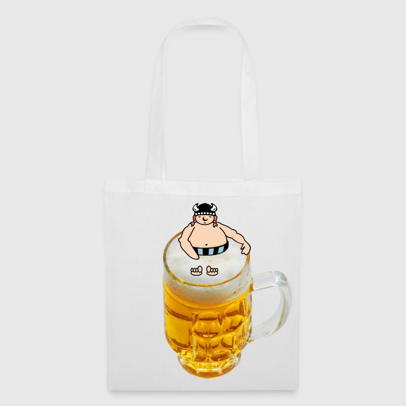 Wit bier zwemmen viking / beer bathing viking (DDP) Tassen - Tas van stof