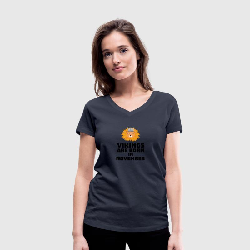 Vikings are born in November Sur82 T-Shirts - Women's Organic V-Neck T-Shirt by Stanley & Stella