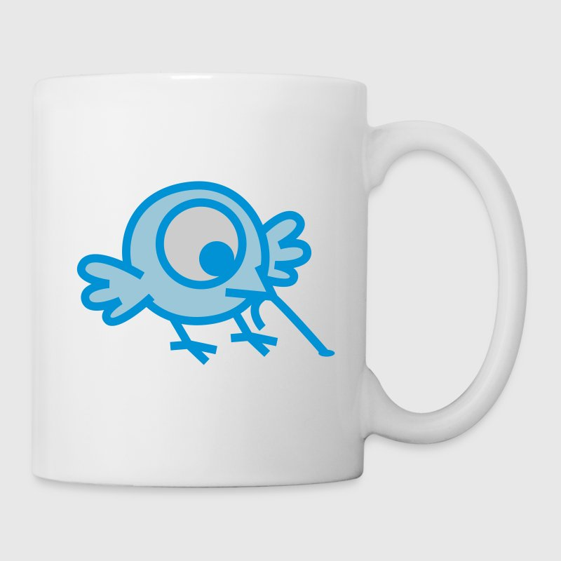 White Small One-eyed Cartoon Birdie and Worm by Cheerful Madness!! Mugs  - Mug