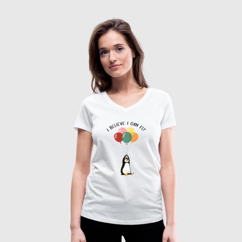 I Believe I Can Fly | Funny Penguin With Balloons T-Shirts - Women's Organic V-Neck T-Shirt by Stanley & Stella