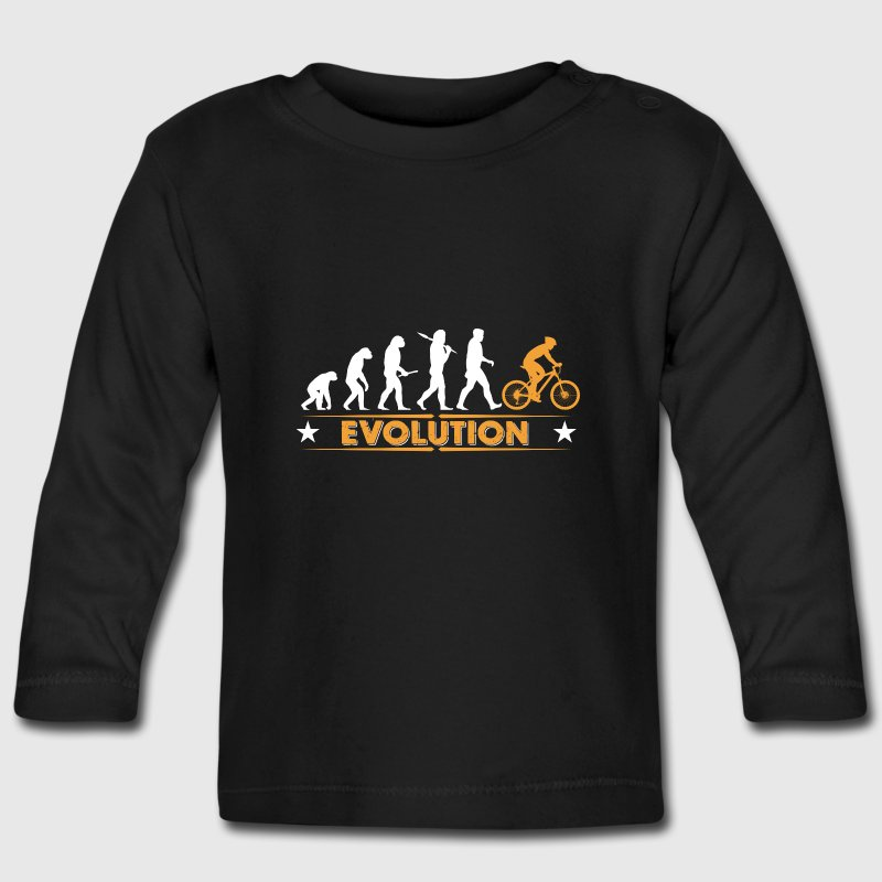 Mountain bike evolution - orange/white Baby Long Sleeve Shirts - Baby Long Sleeve T-Shirt