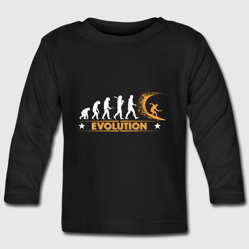 Surfing Evolution - orange/weiss Baby Long Sleeve Shirts - Baby Long Sleeve T-Shirt