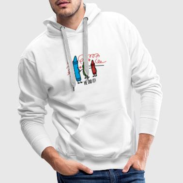 He did it - wasco crayons Tee shirts - Sweat-shirt à capuche Premium pour hommes
