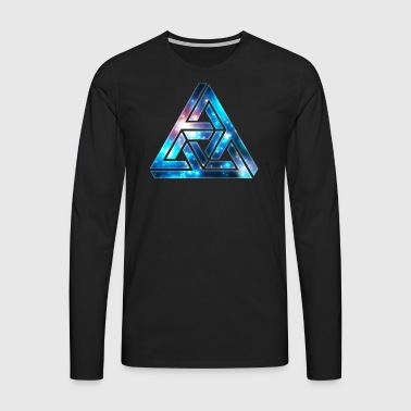 Impossible Triangle, Optical Illusion, Galaxy  T-shirts - Herre premium T-shirt med lange ærmer