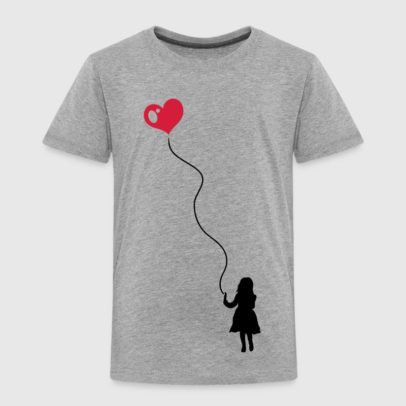 Silhouette of a little girl with a heart balloon.  - Kids' Premium T-Shirt