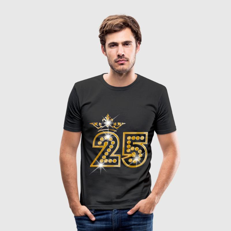 25 - Birthday - Queen - Gold - Burlesque T-shirts - Herre Slim Fit T-Shirt