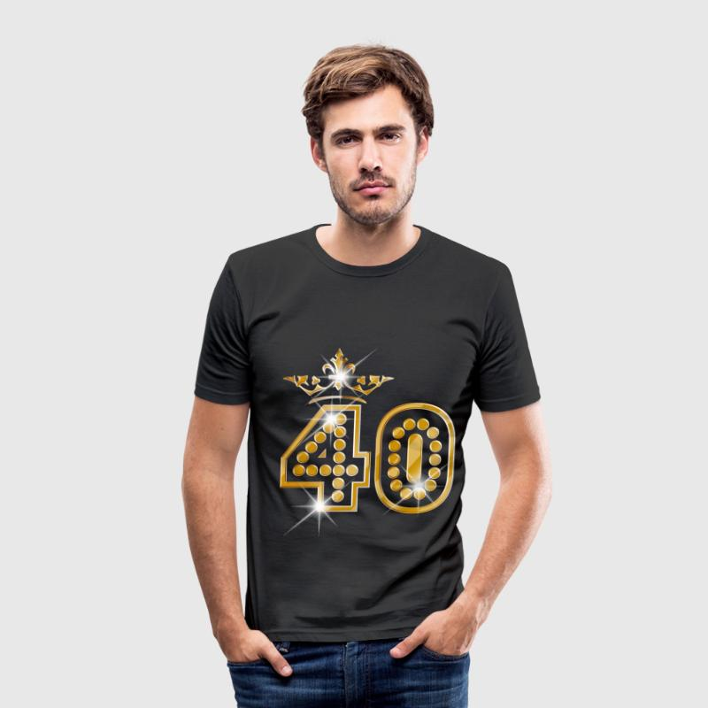 40 - Birthday - Queen - Gold - Burlesque T-shirts - Herre Slim Fit T-Shirt