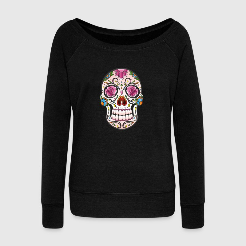 Traditional Mexican sugar skull - Women's Boat Neck Long Sleeve Top