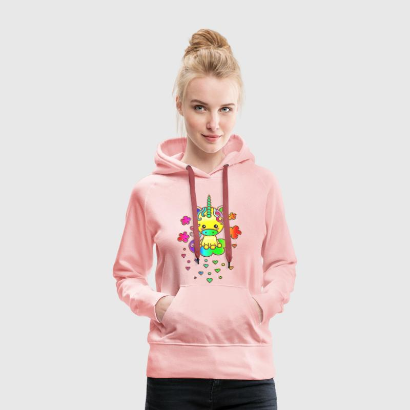 Cute Rainbow Unicorn, Cloud, Kawaii, Manga, Anime Hoodies & Sweatshirts - Women's Premium Hoodie